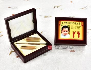 女生嬰兒三寶1刷2章:玻璃木盒、彩色足印照片、臍帶印章、小支赤牛角胎毛刷