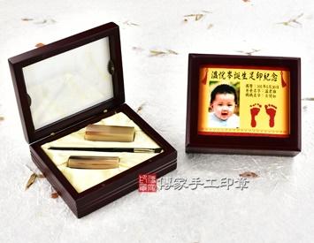 女生嬰兒三寶1刷2章:玻璃木盒、彩色足印照片、臍帶印章、小支黑牛角胎毛刷