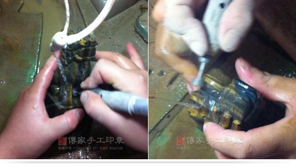 從上面右邊兩個照片,可以看出龍頭已經繪製好輪廓,龍嘴,龍爪,馬身和馬腳都已經繪圖完成熱